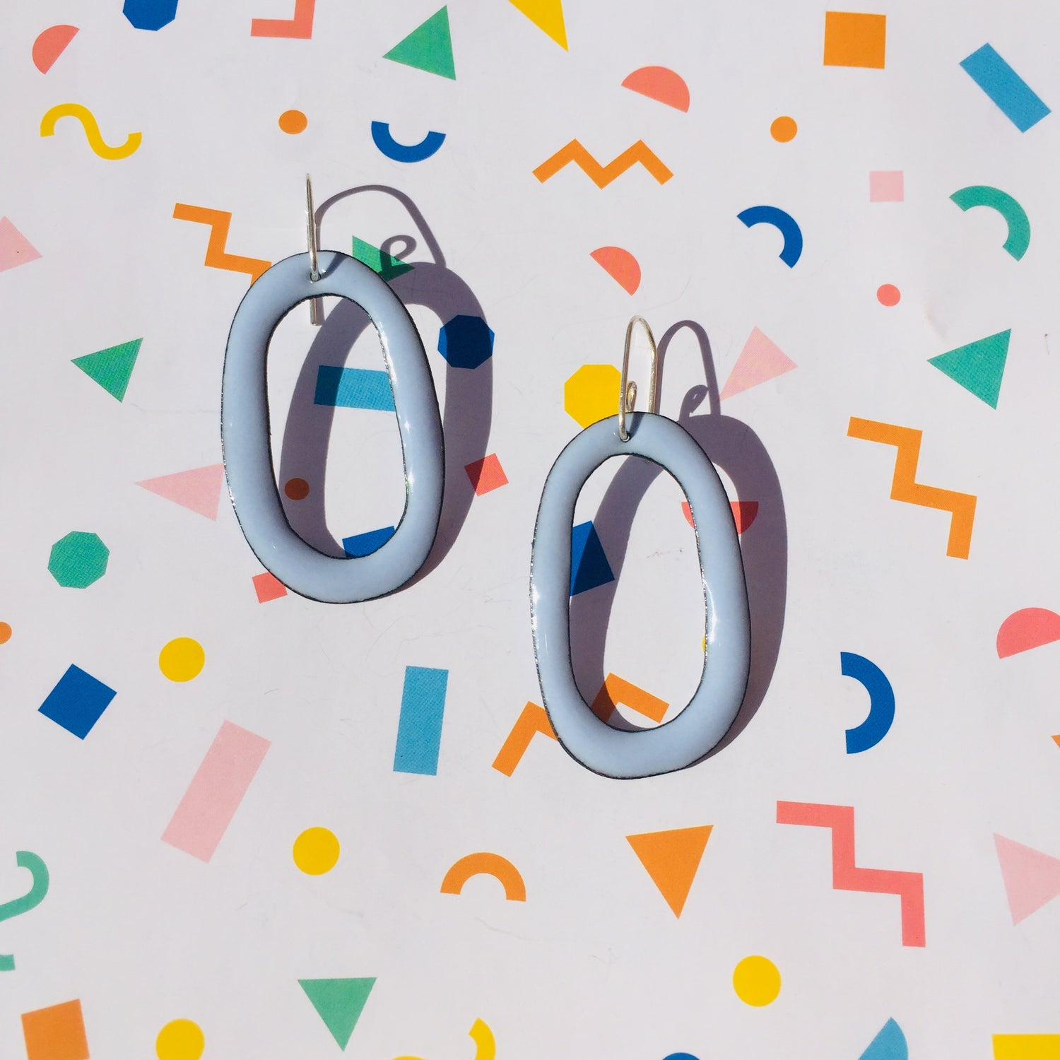 Image of Enameled hoop earrings - Winter blue
