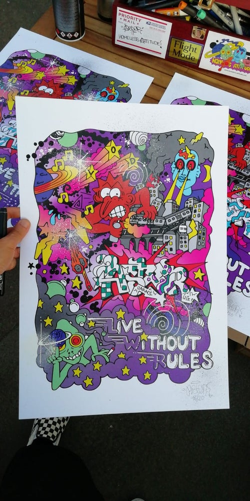 Image of ASTER X HOMELESS ATTITUDE / HAND FINISHED PRINT