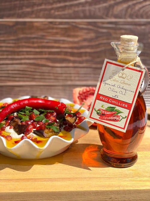 Image of Spanish Arbequina Olives Pressed with Fresh Red Chillies (250ml)