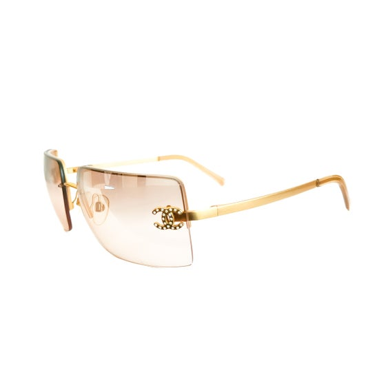Image of Chanel CC Crystal Rimless Gold Sunglasses