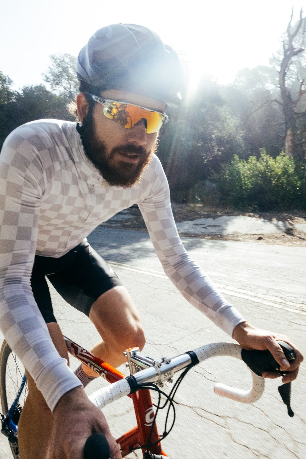 White Check Long Sleeve Jersey