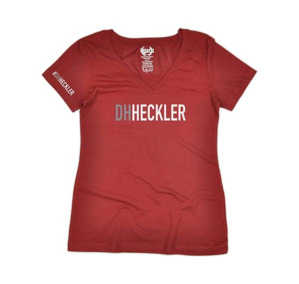 """Image of """"DH Heckler"""" V-Neck Women's - Cardinal"""