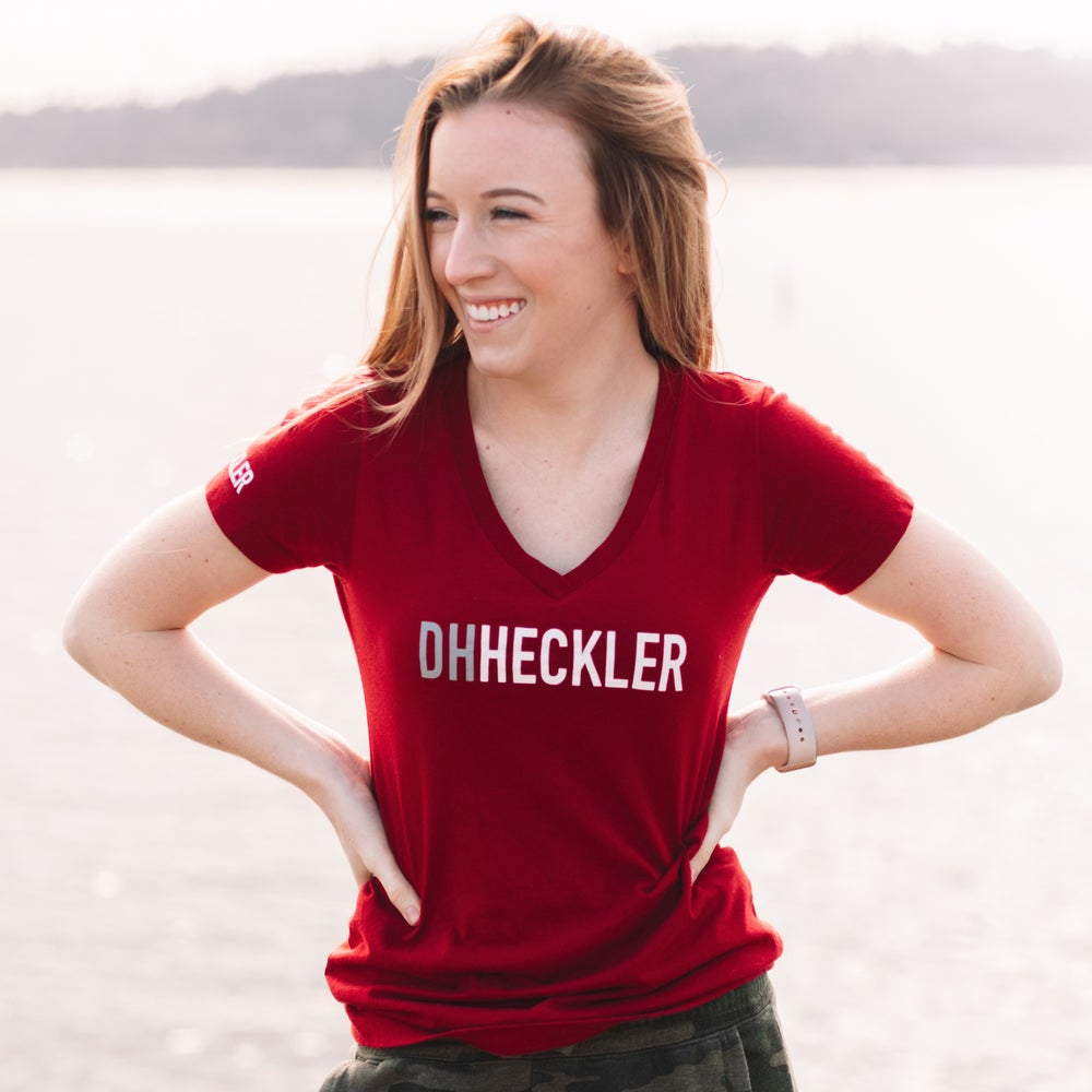 "Image of ""DH Heckler"" V-Neck Women's - Cardinal"