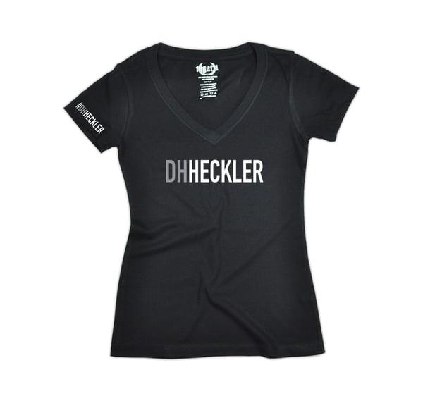"""Image of """"DH Heckler"""" V-Neck Women's - Black"""
