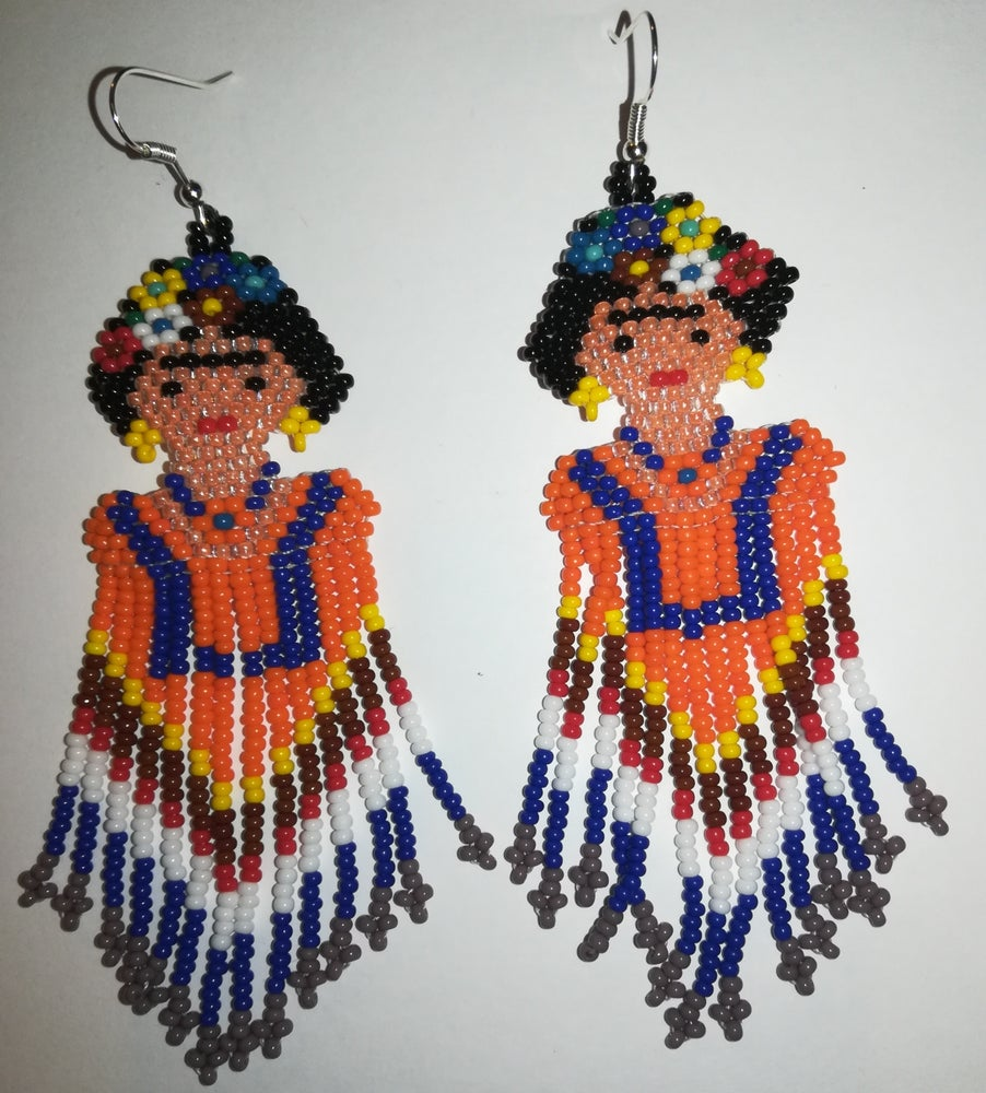 Image of Frida Kahlo beaded earings