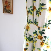 Image of 1950/60s barkcloth rose curtains