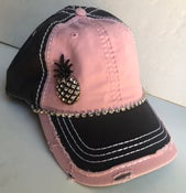 Image of Pink/Gray Baseball Hat with Antique Pineapple