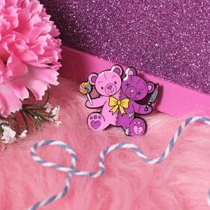 Image of Good & Evil Teddy Bears enamel pin - creepy cute - pastel goth - lapel pin badge