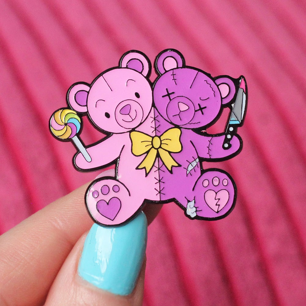 Image of Good & Evil Teddy Bears enamel pin - creepy cute - pastel goth - lapel pin badge