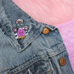 Image of Crystal Ball Cat 'Feed Me' enamel pin - fortune teller - creepy cute - pastel goth - lapel pin badge