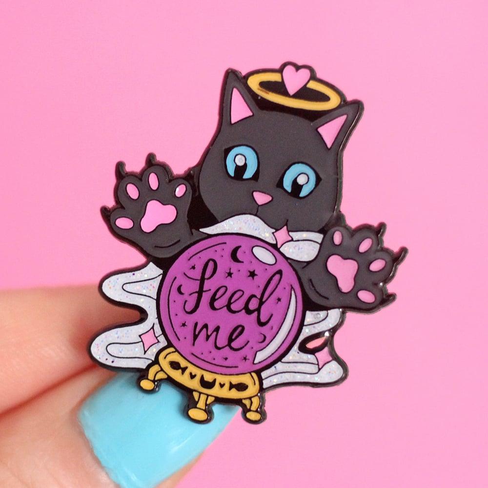 Image of Crystal Ball Cat 'Feed Me' enamel pin - fortune teller - creepy cute - pastel goth - lapel pin badge