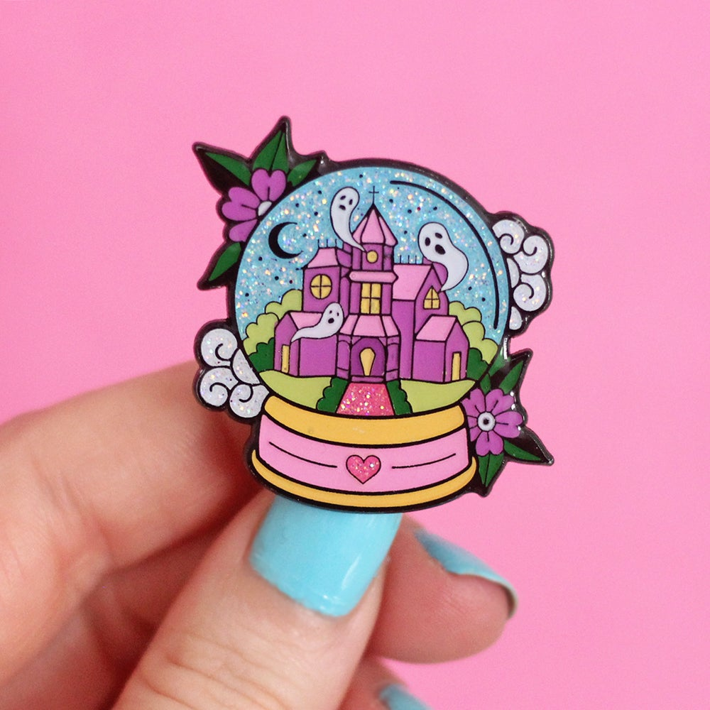 Image of Haunted House Snowglobe enamel pin - glitter - creepy cute - pastel goth - spooky - lapel pin badge