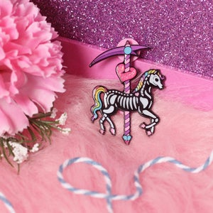 Image of Skeleton Carousel Horse enamel pin - undead - creepy cute - pastel goth - spooky - lapel pin badge
