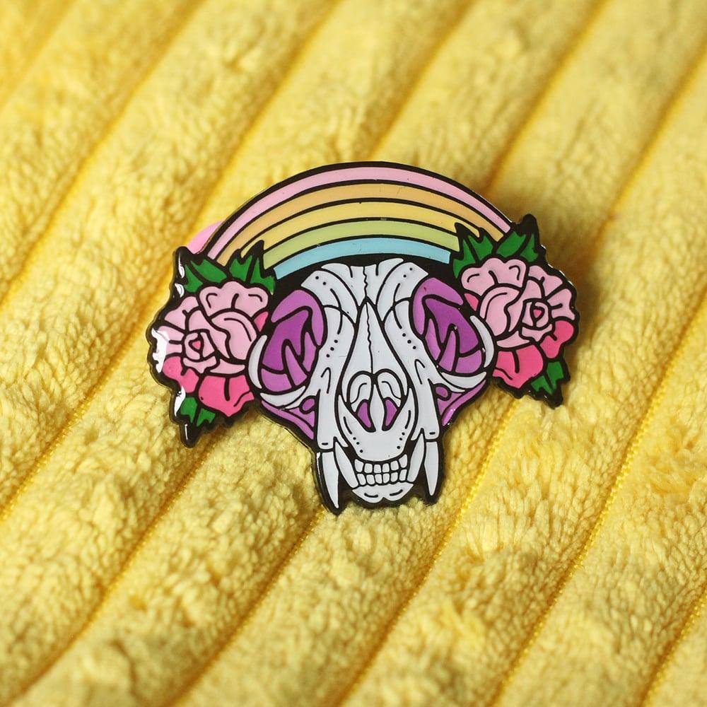 Image of Cat Skull with rainbow & roses enamel pin - creepy cute - pastel goth - spooky - lapel pin badge