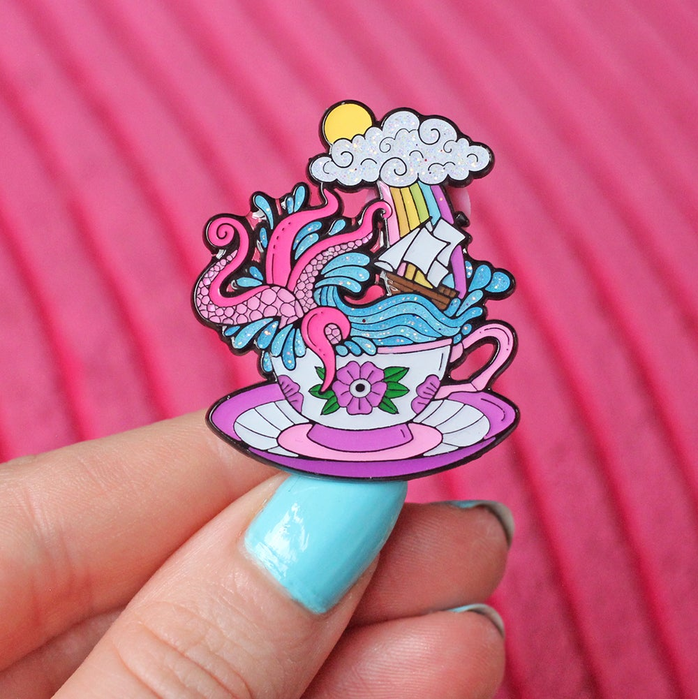 Image of Storm in a Teacup enamel pin - kraken - creepy cute - pastel goth - spooky  - lapel pin badge