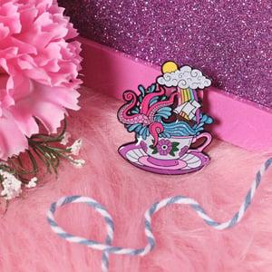 Image of Storm in a Teacup enamel pin - kraken - creepy cute - pastel goth - spooky  - lapel pin badge