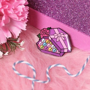 Image of Coffin Chocolate Box with bow enamel pin - creepy cute - pastel goth - spooky - lapel pin badge