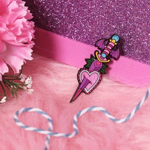 Image of Purple Batwing Dagger enamel pin - neo trad - creepy cute - pastel goth - spooky - lapel pin badge