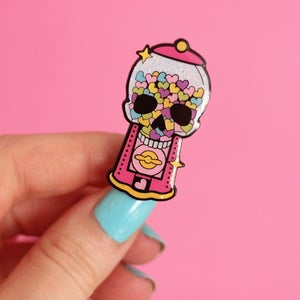 Image of Skull Bubblegum Gumball Machine enamel pin - creepy cute - pastel goth - spooky - lapel pin badge