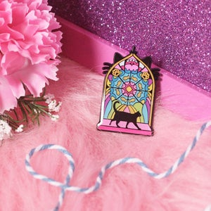 Image of Stained Glass Window with black cat - creepy cute - pastel goth - spooky  - lapel pin badge