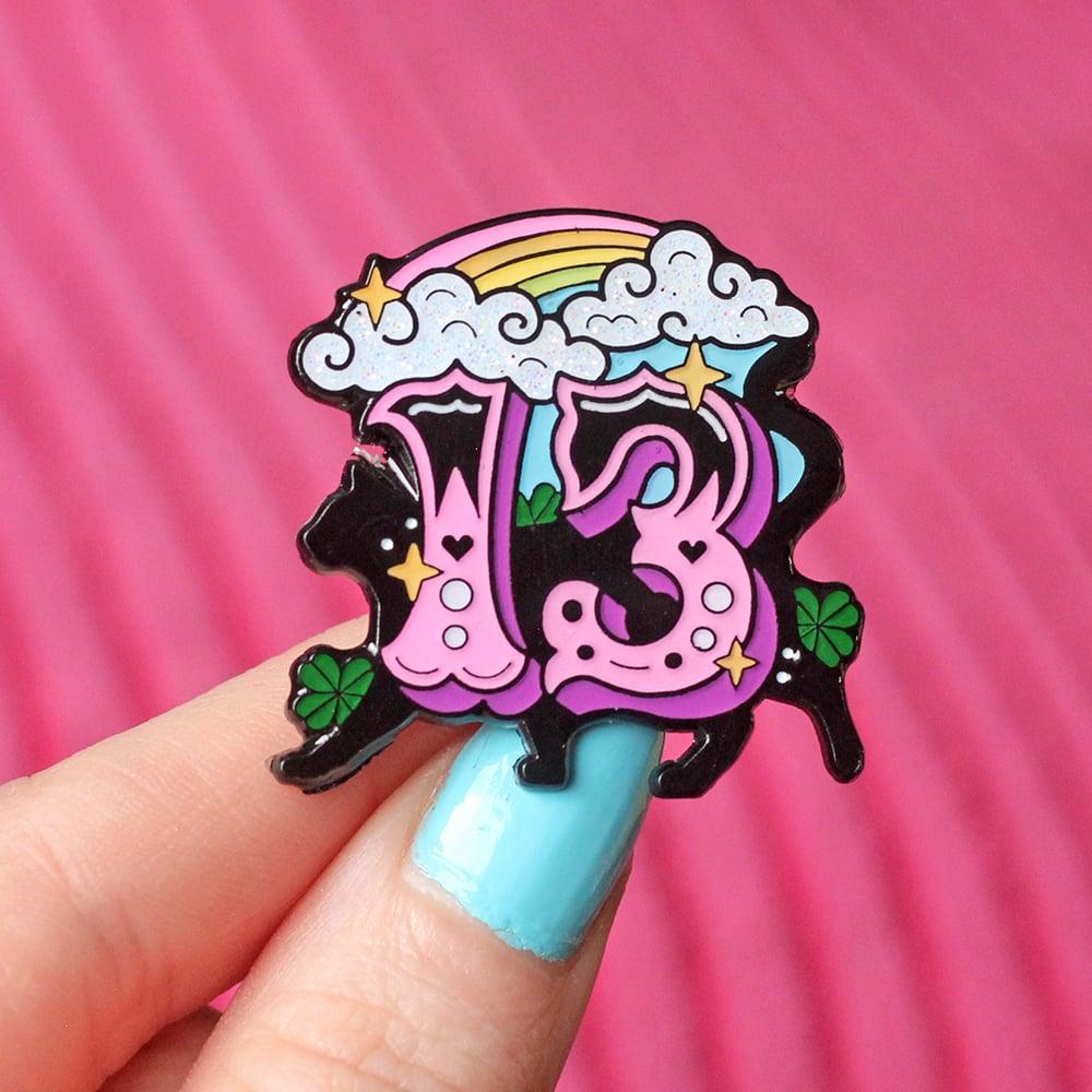 Image of Lucky Thirteen with black cat enamel pin - 13 - creepy cute - pastel goth - spooky - lapel pin badge