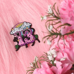 Image of Lucky Thirteen with black cat enamel pin - 13 - creepy cute - pastel goth - spooky - lapel pin badge