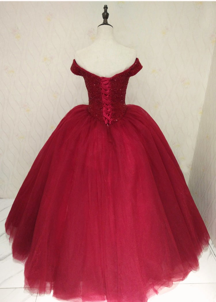 Wine Red Ball Gown Sweetheart 16 Dresses, Gorgeous Long Party Dresses