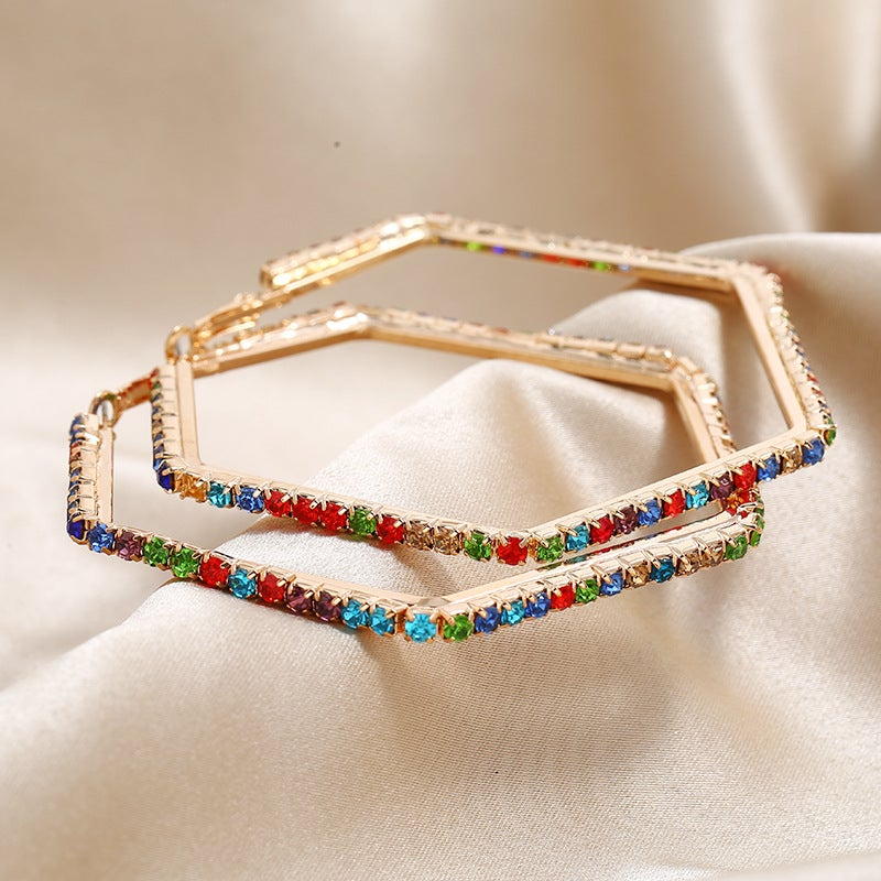 Image of Multi Colored Hexagon Hoops