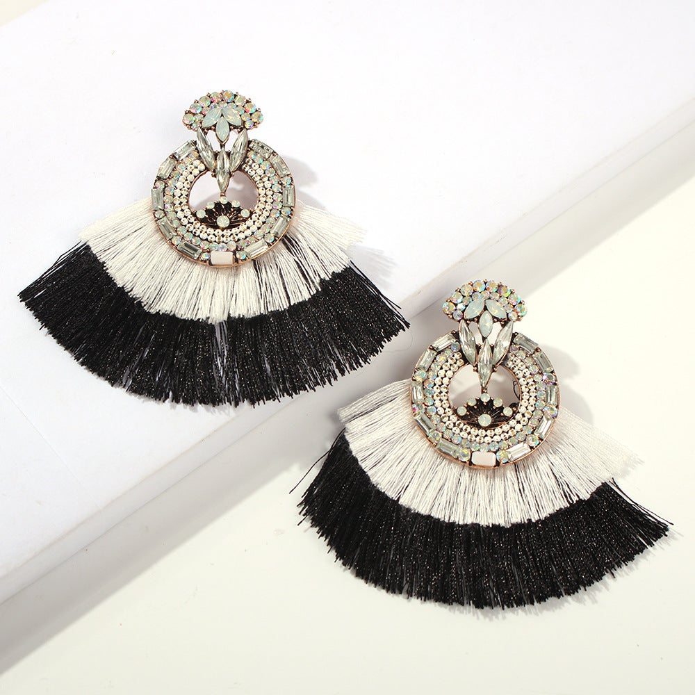 Image of Bohemian Two-Toned Scalloped Tassel Earrings