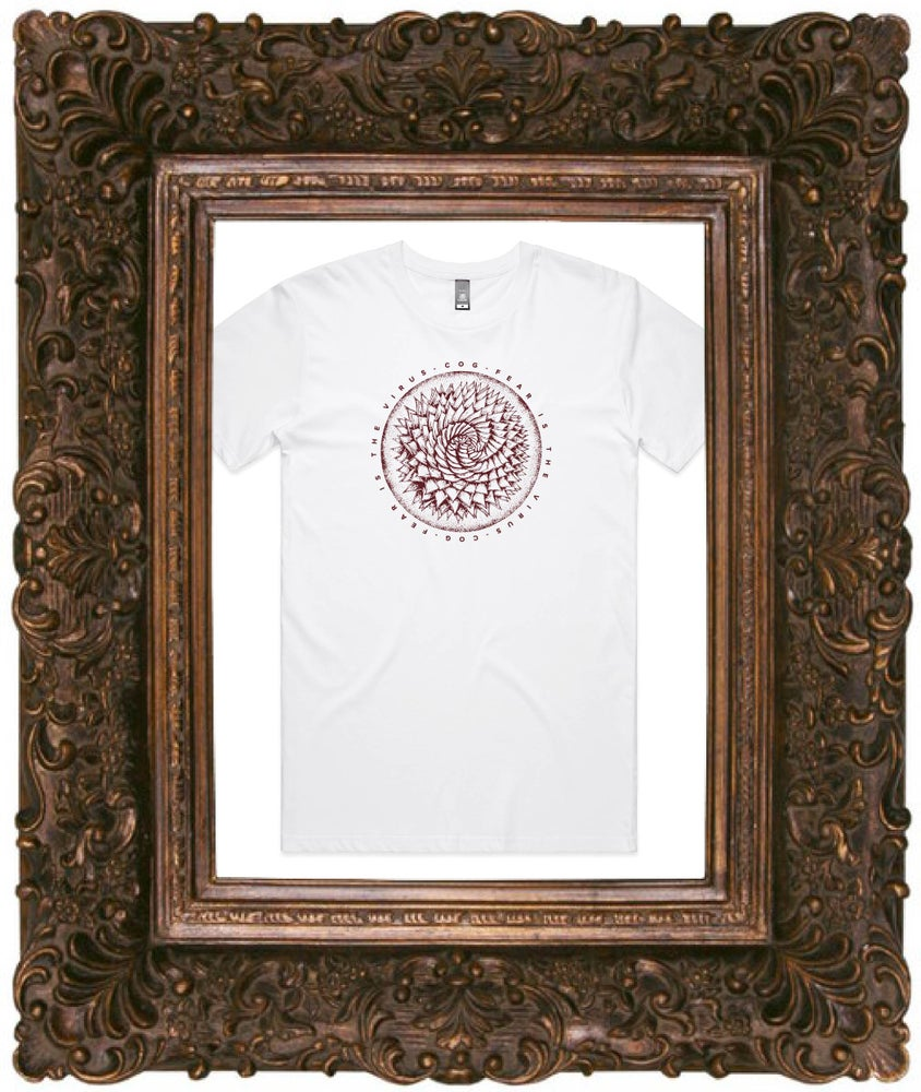 Image of Fear Is The Virus, White T-Shirt w/ Burgundy Print (Pre Order / Sent approx 20th July)