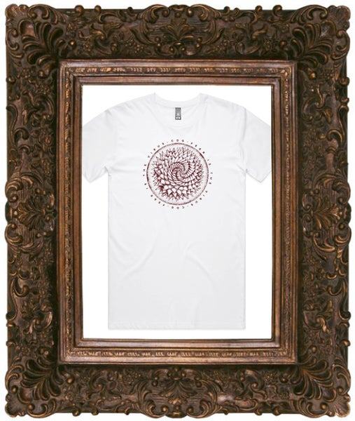 Image of Fear Is The Virus, White T-Shirt w/ Burgundy Print