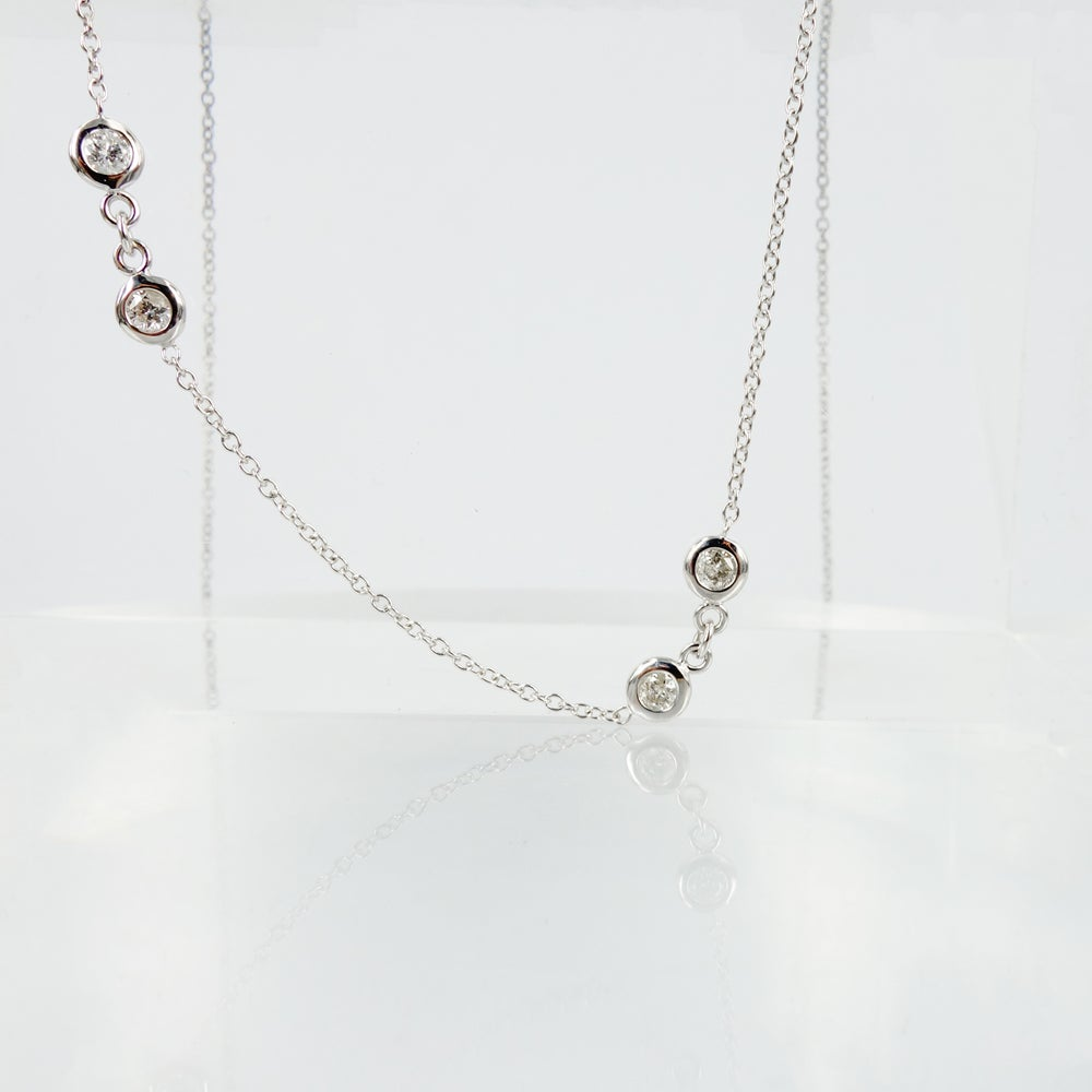 Image of 9ct white gold diamond chain necklace