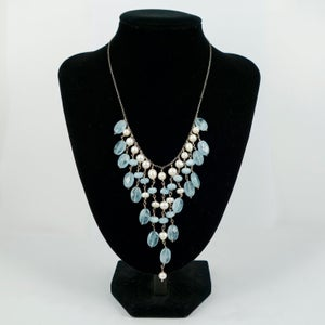 Image of Sterling silver aquamarine and pearl drop necklace