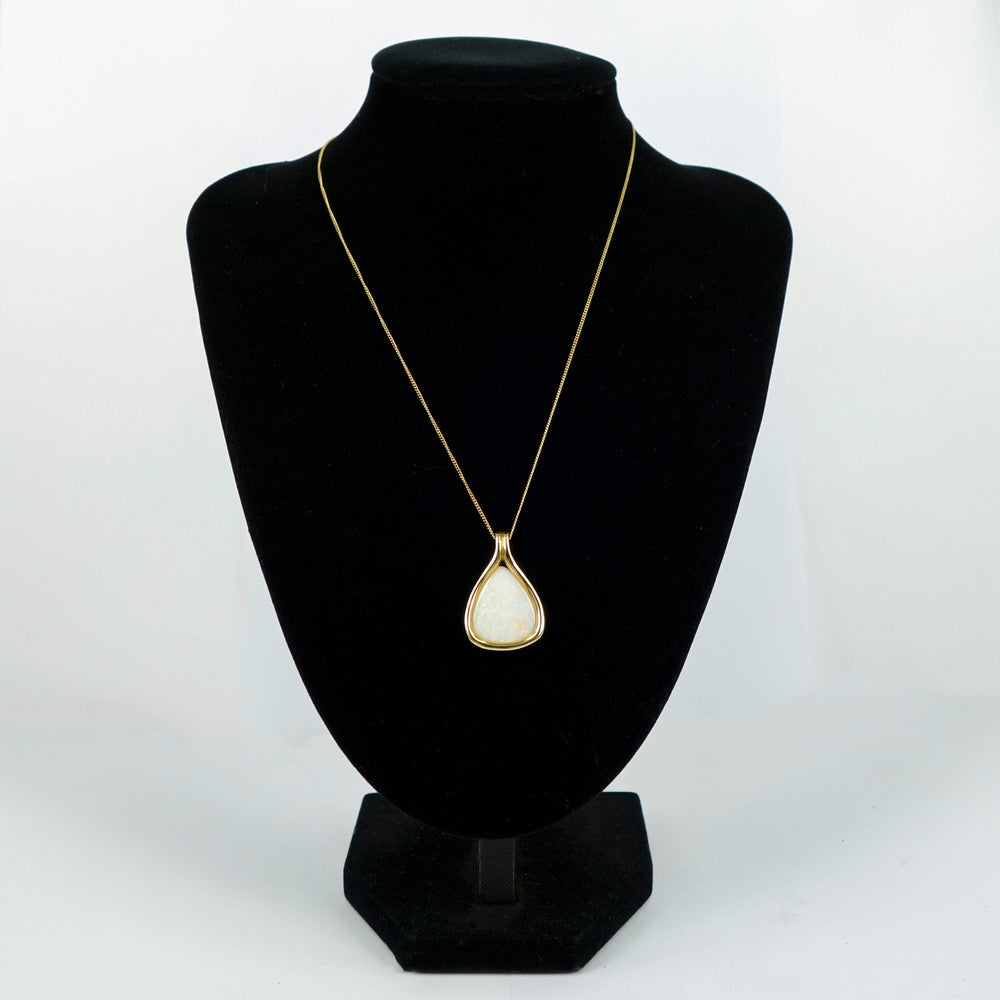Image of 9ct yellow gold white Opal necklace