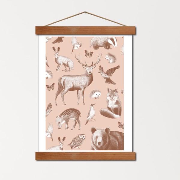 Image of Affiche A4 Le bestiaire de la forêt - nude