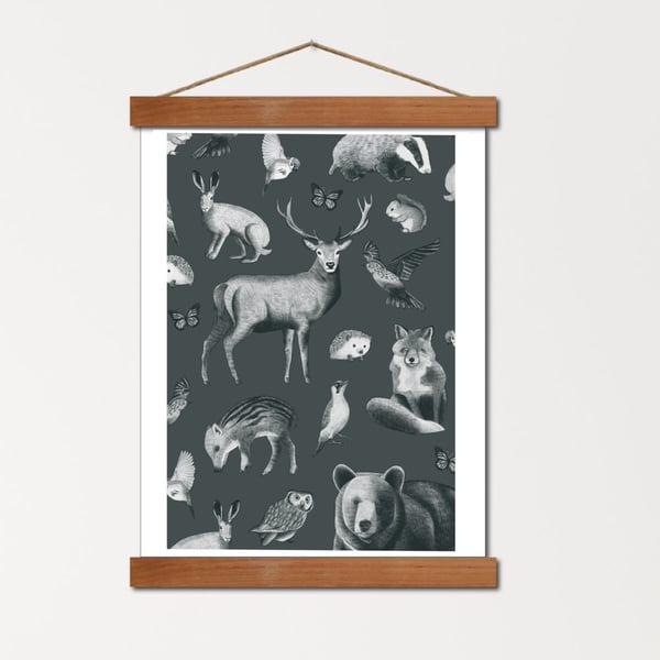 Image of Affiche A4 Le bestiaire de la Forêt - sapin