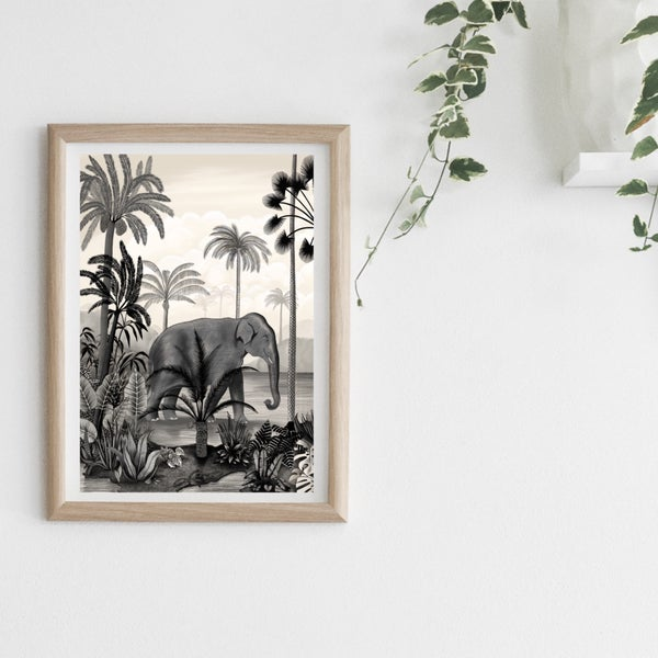 Image of Affiche A3 Un Éléphant dans la Jungle