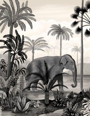 Image of Affiche A3 Un Éléphant dans la Jungle
