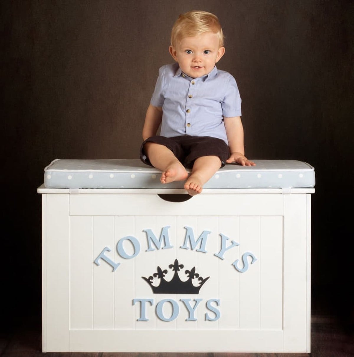 Image of Personalised Chest - Cushion Top - Dotty Blue ***DELIVERY AFTER 1st OCTOBER***