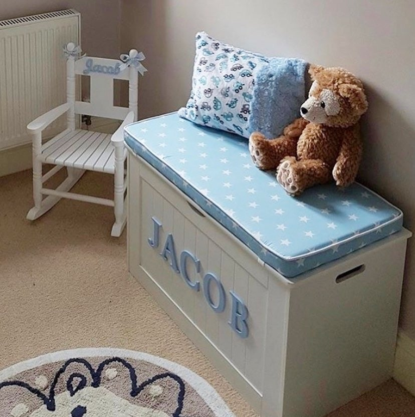 Image of Personalised Chest - Cushion Top - BLUE STAR ***DELIVERY AFTER 1st AUGUST***