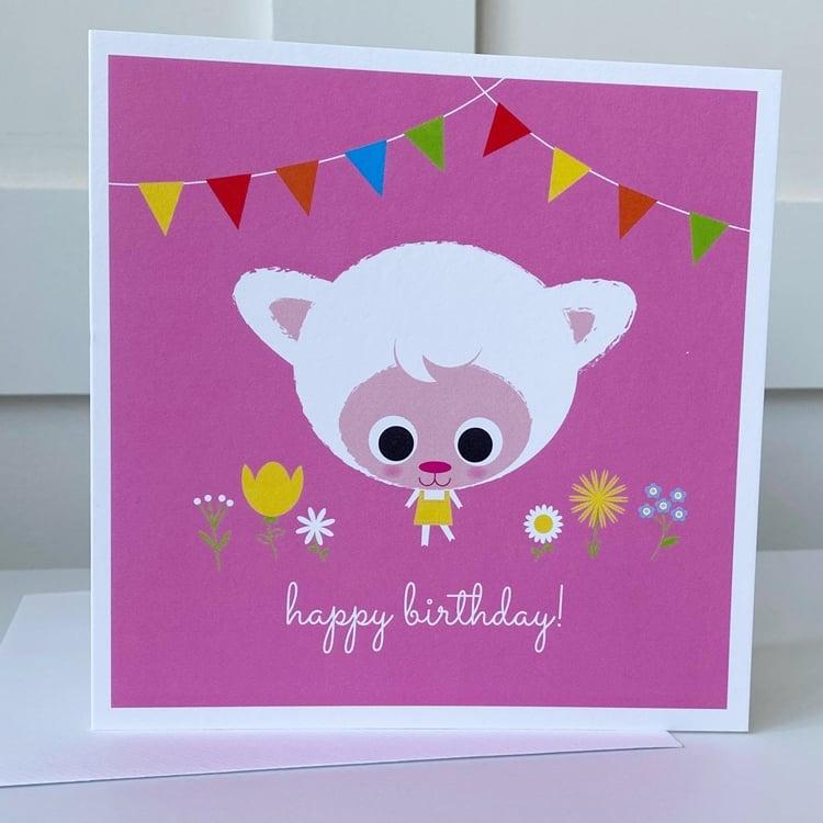Image of Pink Lamb Happy Birthday Card
