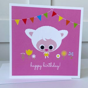Image of Pink Lamb Happy Birthday Card