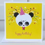 Image of Yellow Panda Happy Birthday Card