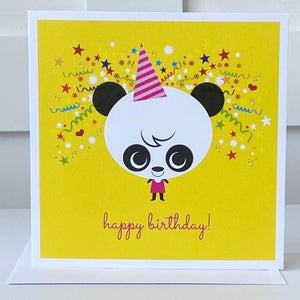 Image of Yellow Panda Happy Birthday Card