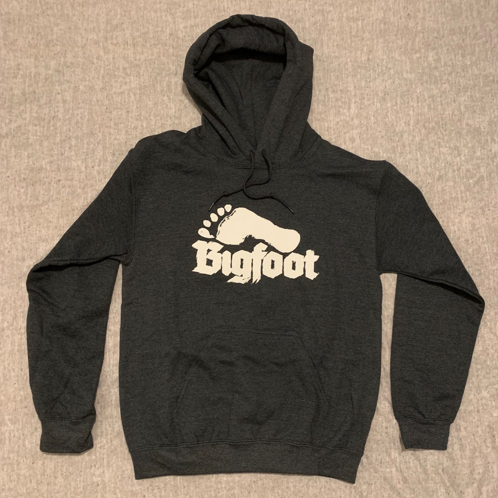 "Image of ""Bigfoot"" Hoodie.  White on Dark Grey Marle"