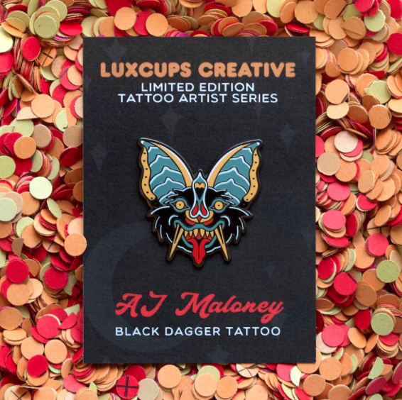 Image of LUXCUPSXAJMALONEY BAT HEAD ENAMEL PIN