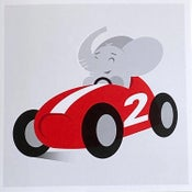 Image of Elephant in Racecar 2nd Birthday Card