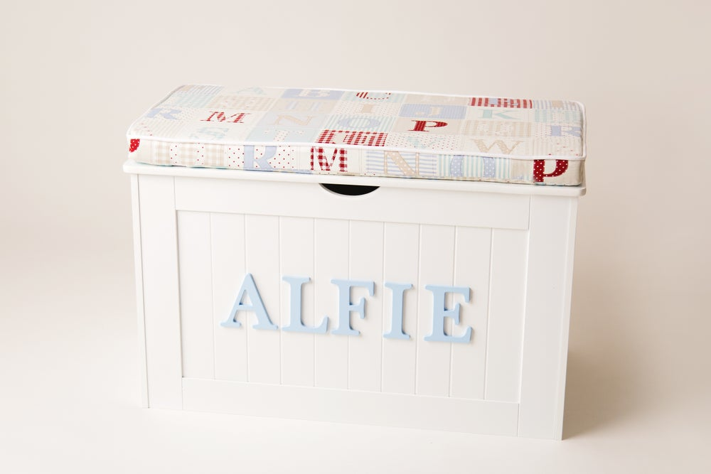Image of Personalised Chest - Cushion Top - ABC BLUE ***DELIVERY AFTER 1st AUGUST***