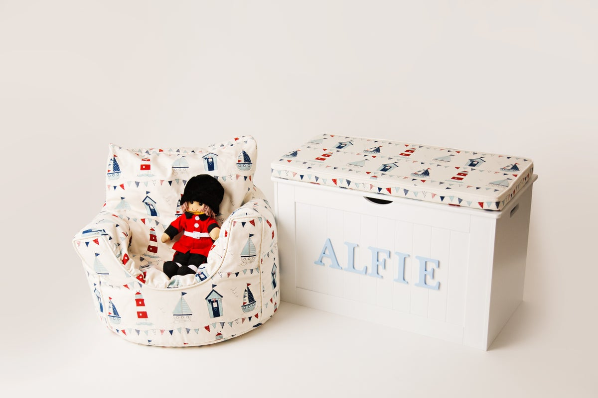 Image of Personalised Chest - Cushion Top - BOATS & BUNTING *** DELIVERY AFTER 1st AUGUST ***