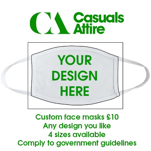 Custom printed face mask. Various sizes